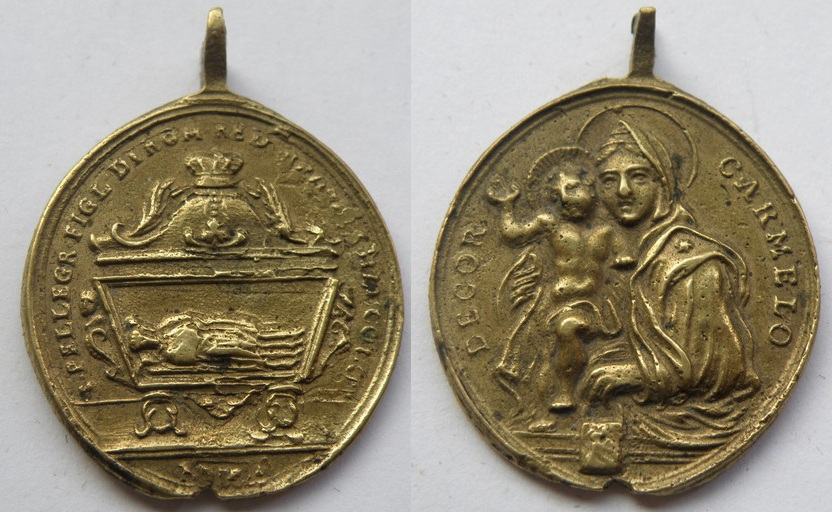 Medalla  de San Peregrino y San Blanco, rey de Escocia. Pelegr10
