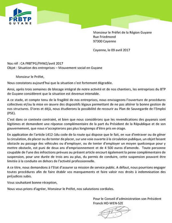 La Guyane bloquée - Etat de non droit - Page 4 Lettre10