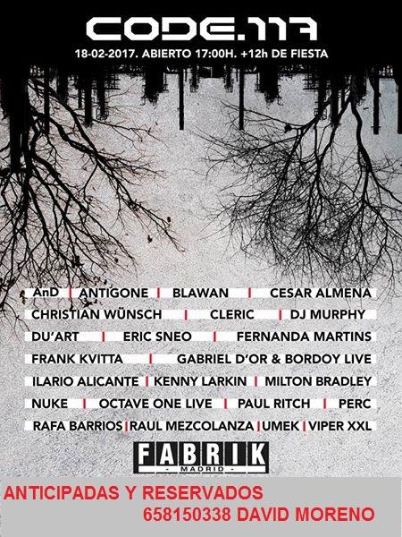 18.02.17:  CODE 117 EN #FABRIK HAZTE CON TU ENTRADA ANTICIPADA O RESERVADO 658150338 DAVID  Code_110