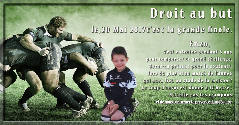 Création carte d'anniversaire thème rugby Rugby10