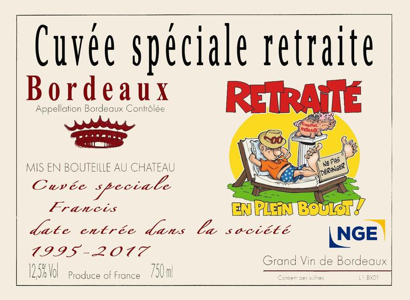 ETIQUETTE BOUTEILLE DEPART RETRAITE URGENT Vin10