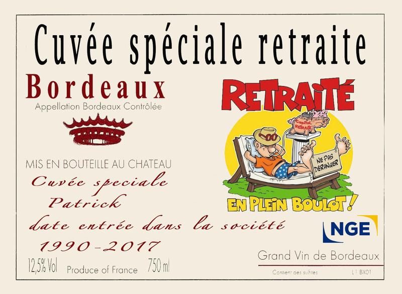ETIQUETTE BOUTEILLE DEPART RETRAITE URGENT Vin210