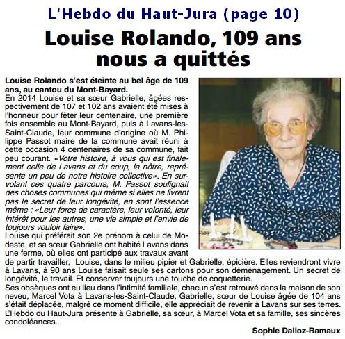 Décès de personnes de 109 ans - Page 5 Louise10