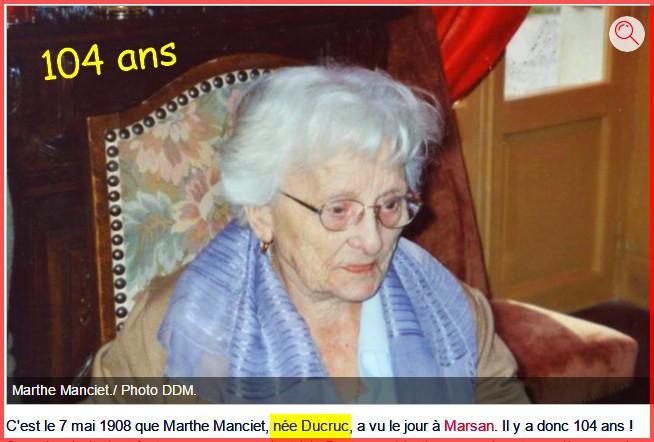 Preuves de vie récentes sur les personnes de 109 ans - Page 5 Marthe10