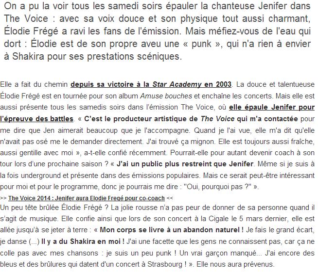 Punk Élodie Frégé ? Elle se compare à Shakira (17 mars 2014) Captu125