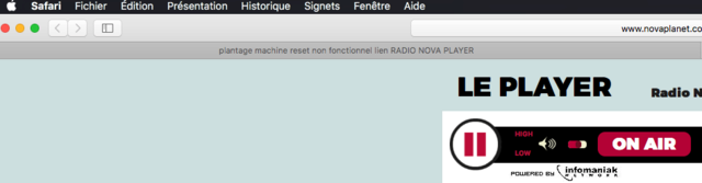 plantage machine reset non fonctionnel lien RADIO NOVA PLAYER  Captu182
