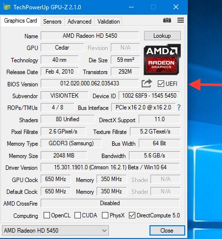 Bios UEFI Graphics VisionTek ATI Radeon HD 5450 2048 Mo Captu240