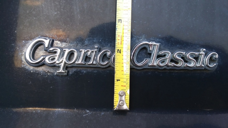 1978 Impala C Pillar and Trunk lid badge placement 05271713