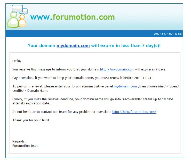New update: Email notification for domain name expiration  J-710