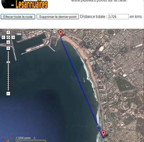 calcul de distance en metre ouKm sur carte (parcours) Mimoun10