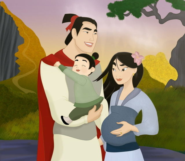 Les princesses (et héroines) Disney avec leur progénitures. Happil16