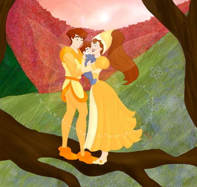 Les princesses (et héroines) Disney avec leur progénitures. Happil20