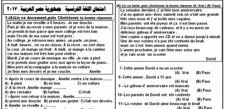امتحان اللغة الفرنسية للثانوية العامة 2017 وورد فى ورقتين  1346