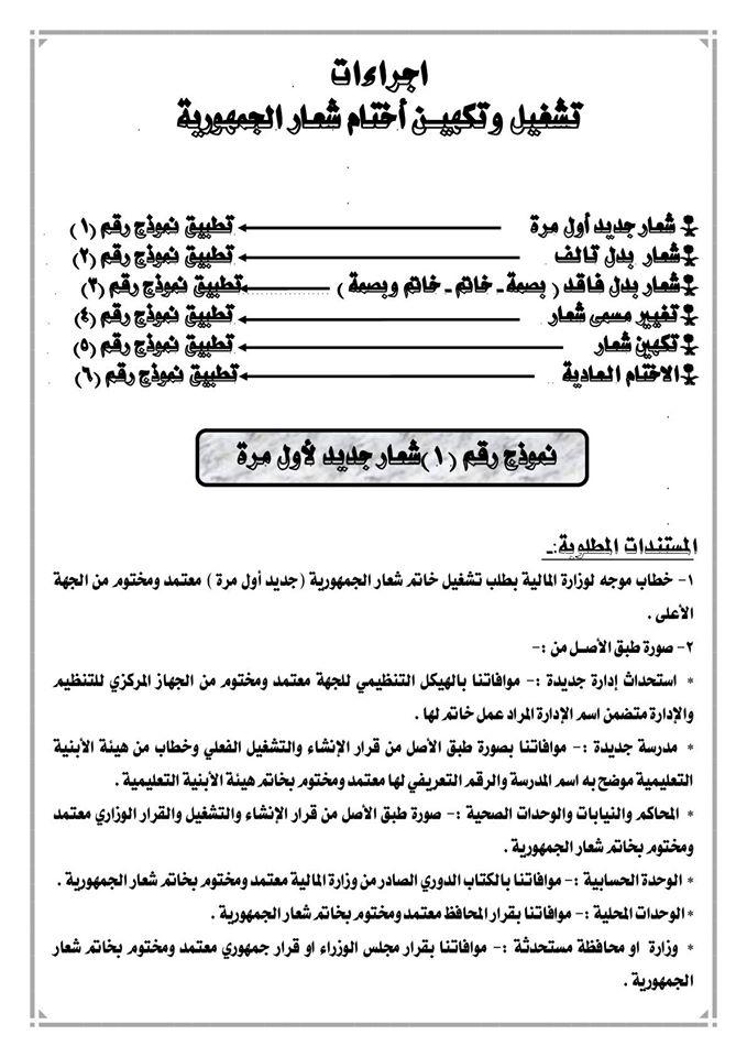 اجراءات تشغيل وتكهيـن أختام شعار الجمهورية 167