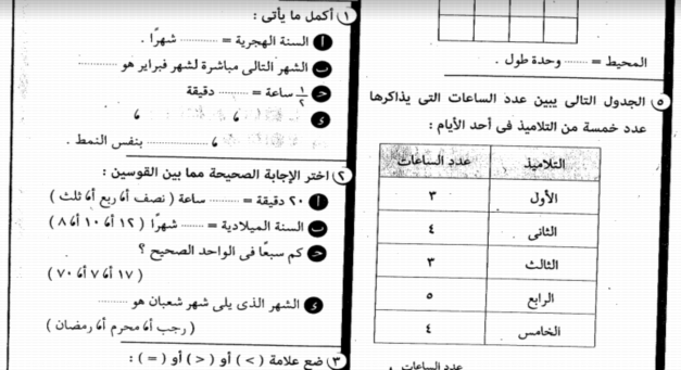 امتحانات الرياضيات للصف الثانى الابتدائى الفصل الدراسى الثانى 21010