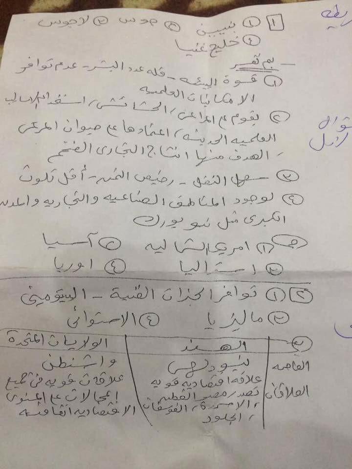 نموذج اجابة امتحان الدراسات الاجتماعية للصف الثالث الاعدادي الترم الثاني 2017 محافظة الجيزة 4119