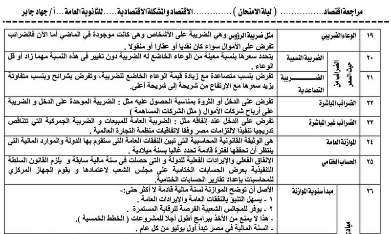 مراجعة اقتصاد الثانوية العامة في 16 ورقة لمستر جهاد جابر.. هتقفل الدرجة النهائية بإذن الله 4137