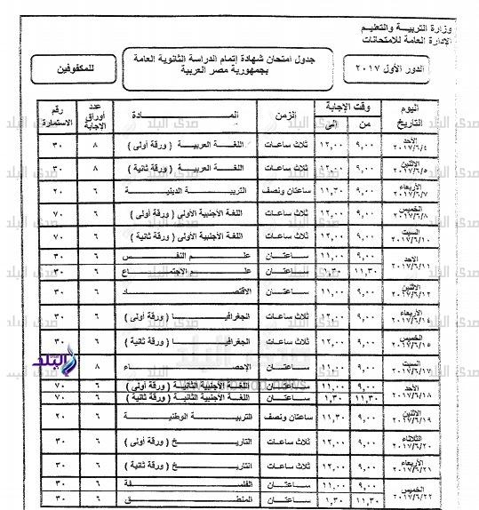 جدول امتحانات الثانوية العامة لعام 2017 الرسمي للدور الاول بجمهورية مصر العربية 56410