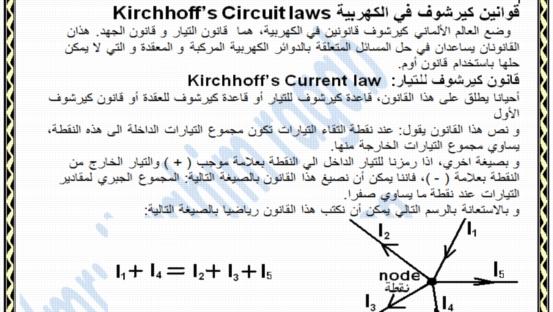 ملخص شرح قوانين كيرشوف بطريقه تخليك تحل اي مساله 822