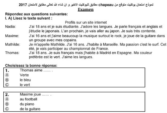 توقعات chapeau en français لامتحان اللغة الفرنسية للثانوية العامة 975