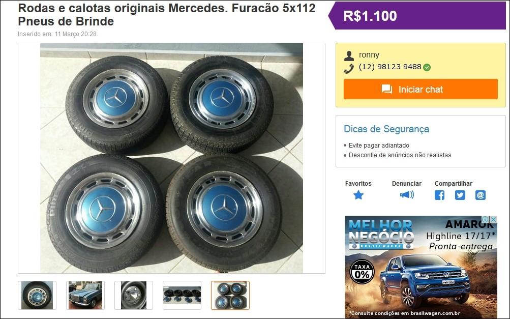 (VENDE-SE): Jogo de rodas e calotas para Mercedes dos anos 70, com pneus - R$1.100,00 Tela17