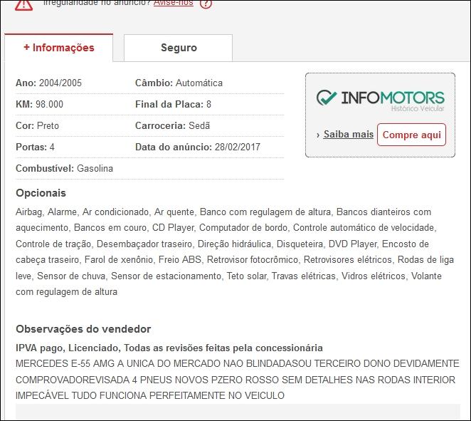 (VENDE-SE) W211 E55 Kompressor AMG 2004/2005 - R$89.000,00 Tela210