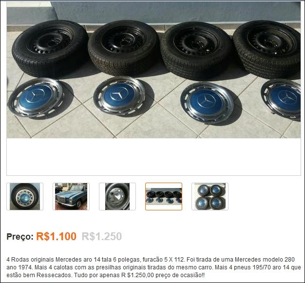 (VENDE-SE): Jogo de rodas e calotas para Mercedes dos anos 70, com pneus - R$1.100,00 Tela211