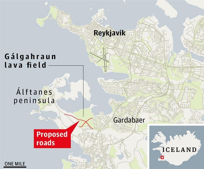 [Islande] Les défenseurs des elfes bloquent la construction d'une autoroute en Islande  Icelan10