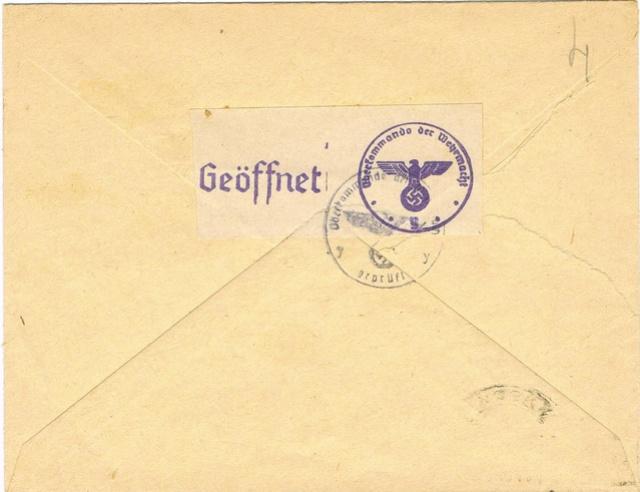 Courrier intérieur contrôlé par la commission allemande de Bordeaux  Ccf20011
