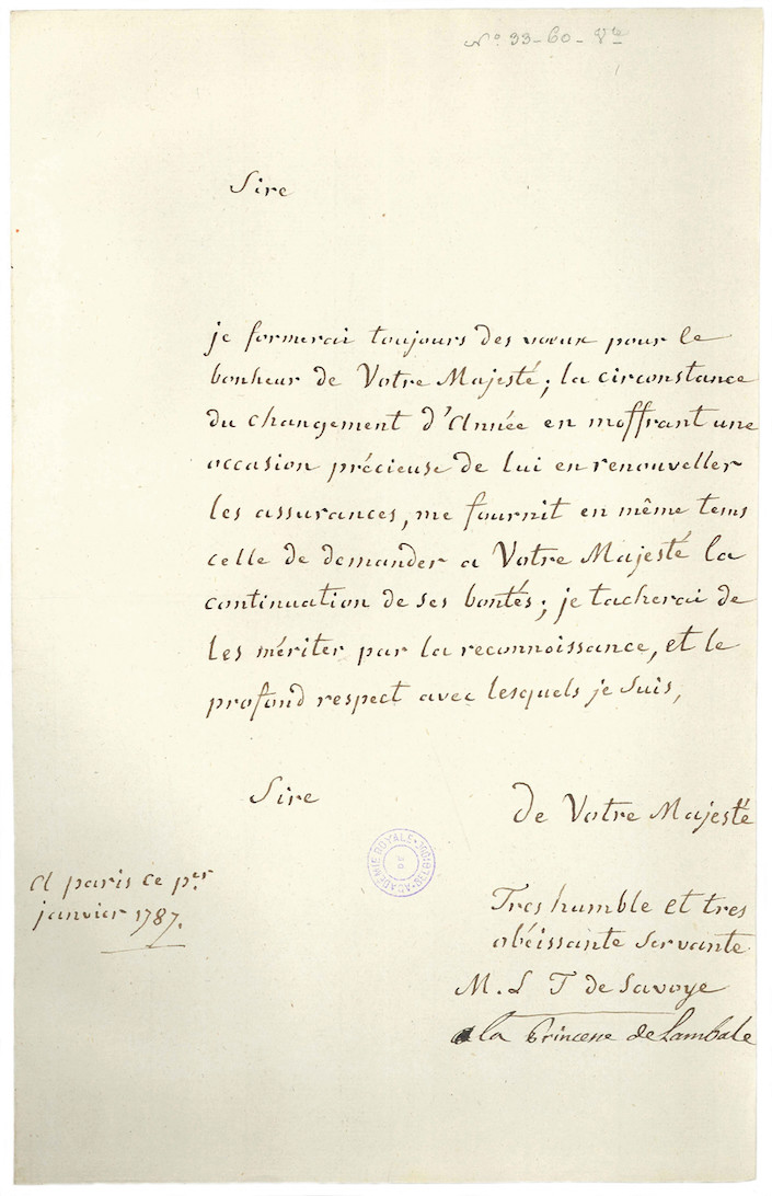 Lettres de la princesse de Lamballe Lettre13