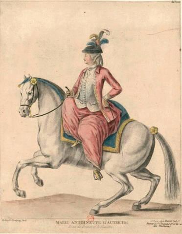 Portraits de Marie-Antoinette en habit de cavalière