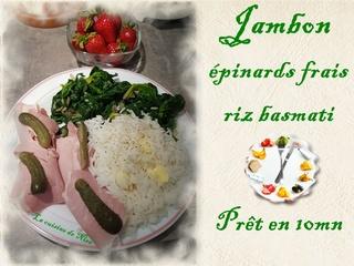 Jambon, épinards frais, riz Jambon10