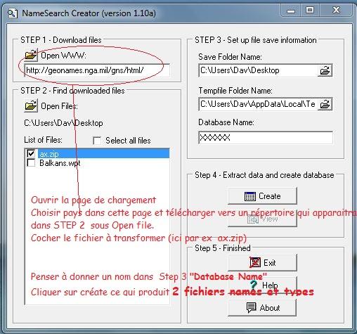 Names Search  création des fichiers ou téléchargement Axzip10