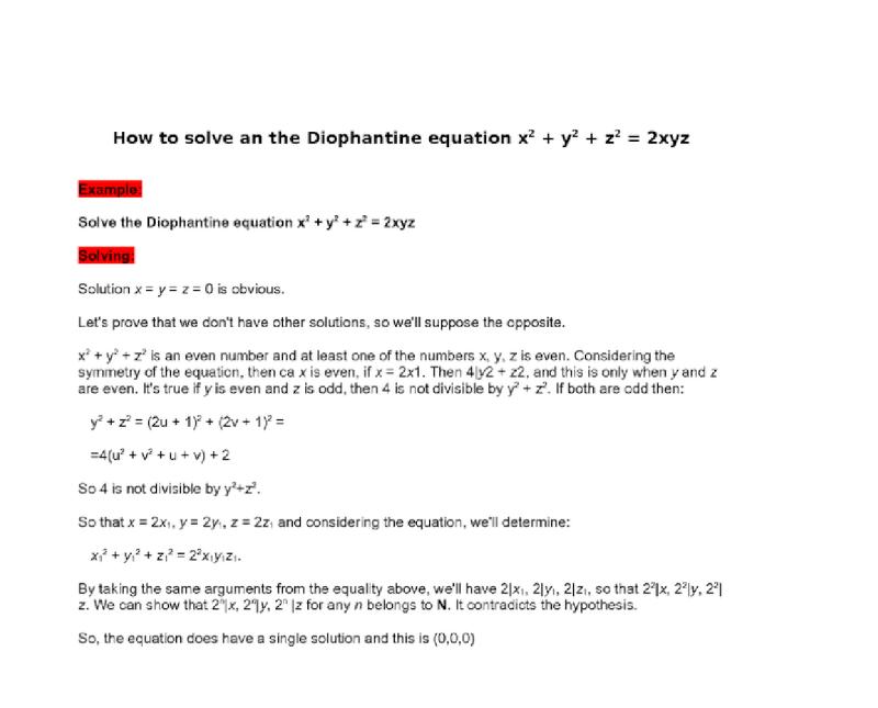 equation X2y2z210