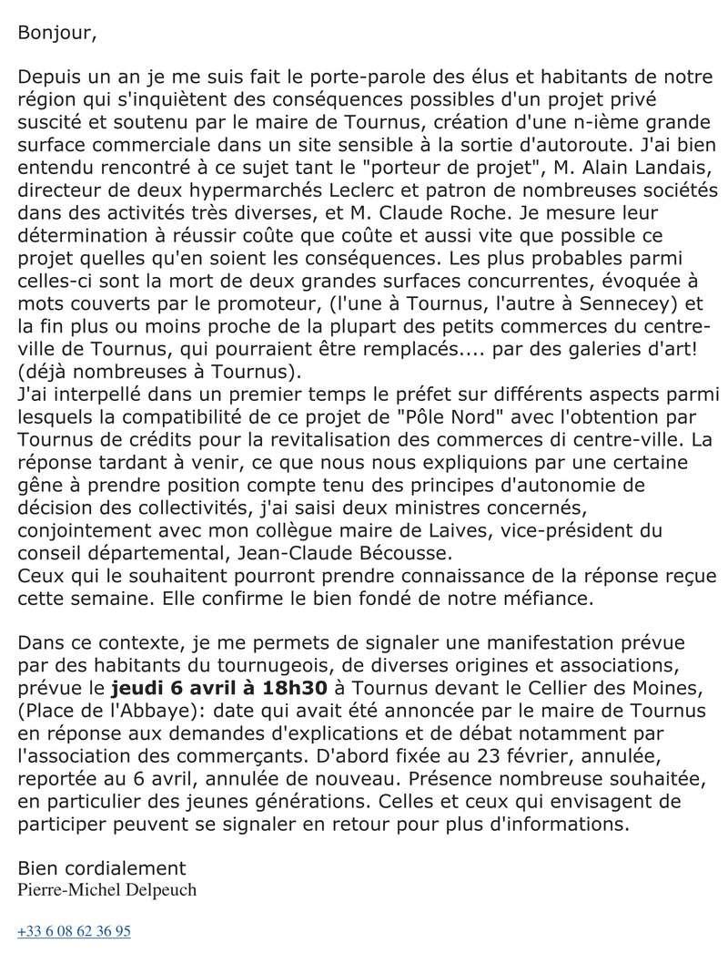 information - projet Leclerc Tournus - lettre du ministre 110