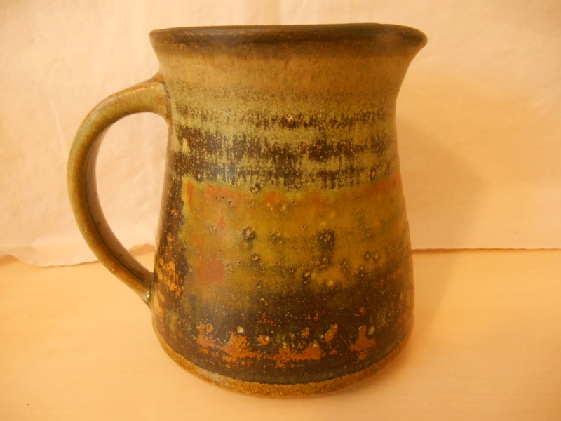 Rust Red, Greens Studio Pottery Jug Illegible Mark - Help identify please Dscn0010