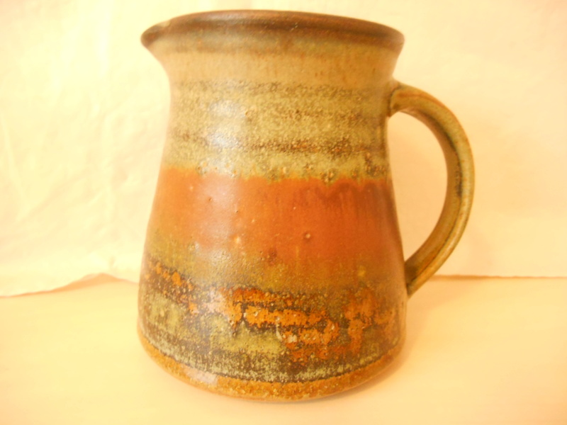 Rust Red, Greens Studio Pottery Jug Illegible Mark - Help identify please Dscn0011