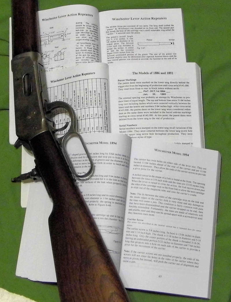 les 3 volumes Arthur PIRKLE !  Winchester Lever Action Repeating Firearms , Models 1866-1873-1876, Models 1886-1892, Models 1894-1895. Winch169