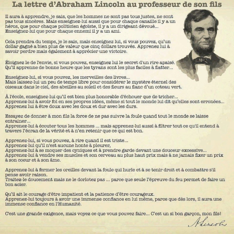 Lettre de Abraham LINCOLN à l'enseignant de son fils. 26822010