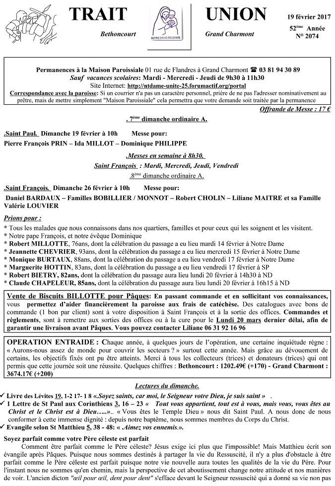 Trait D'union du 19 février 2017 Tu170210