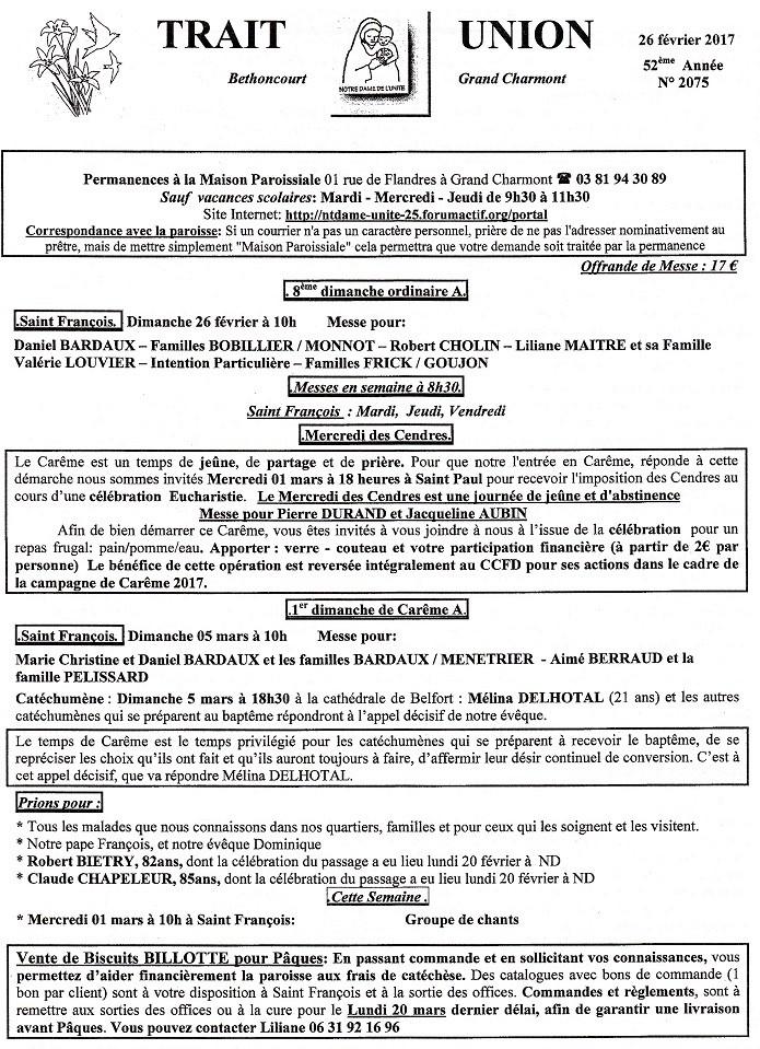 Trait D'union du 26 février 2017 Tu170212