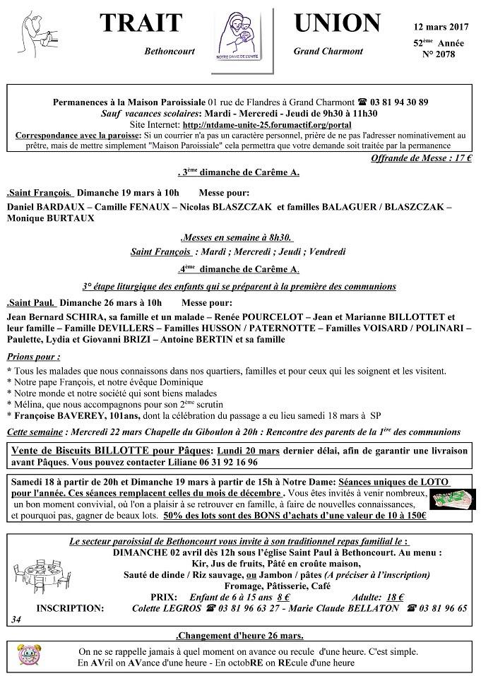 Trait d'Union du 19 mars 2017 Tu170314