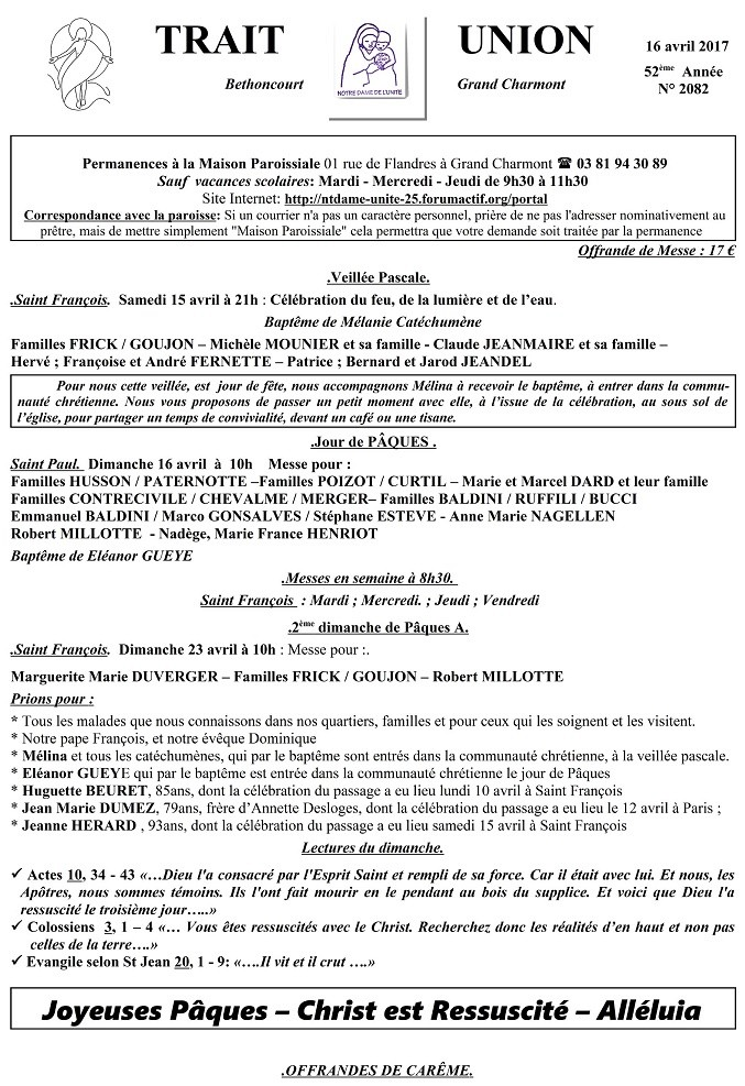 Trait d'union du 16 avril 2017 - PAQUES Tu170414