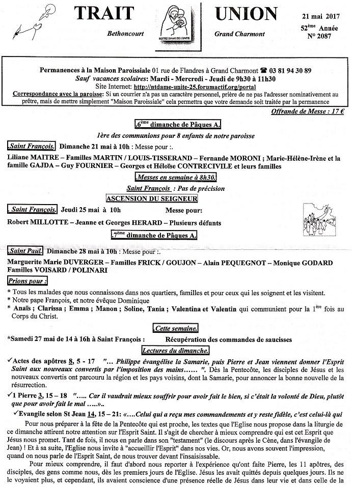 Trait d'Union du 21 mai 2017 - 1ère des communions pour 7 enfants Tu170516
