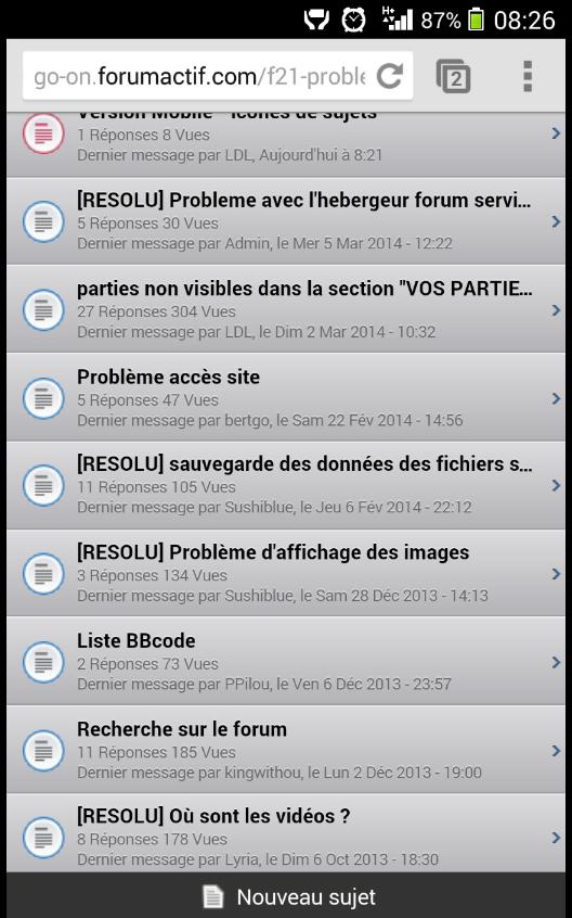 Version Mobile - icônes de sujets Screen11