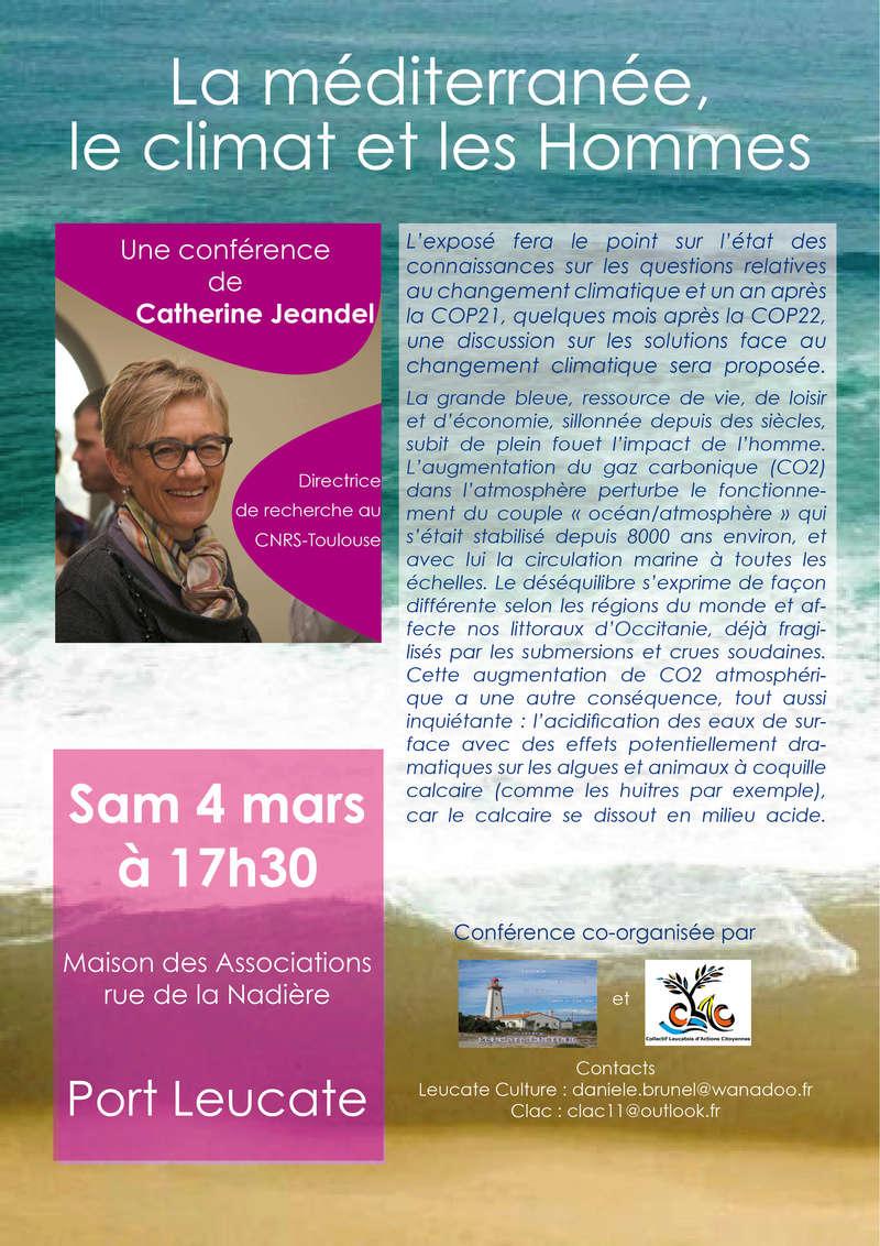 """mediterranee - Conférence """"La méditerranée, le climat et les hommes"""" à Port-Leucate Affich10"""