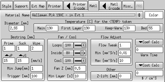 Débuts de tests avec kisslicer Mat110