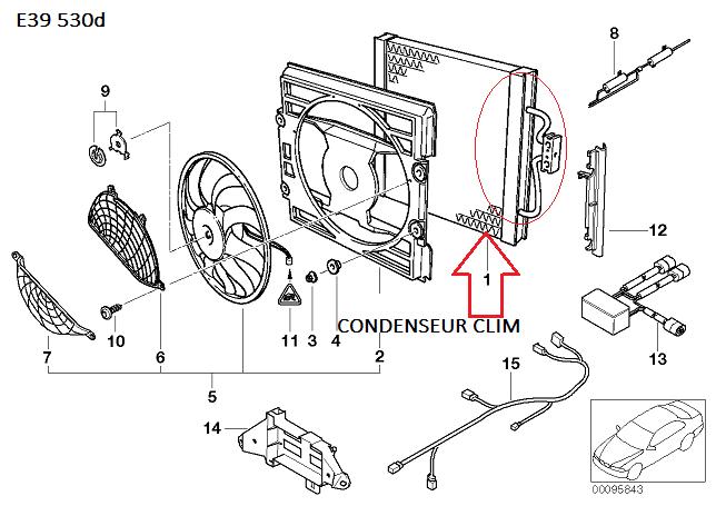 [ BMW E39 530D M57 an 1998 ] Comment démonter le condenseur de clim  64_e3911
