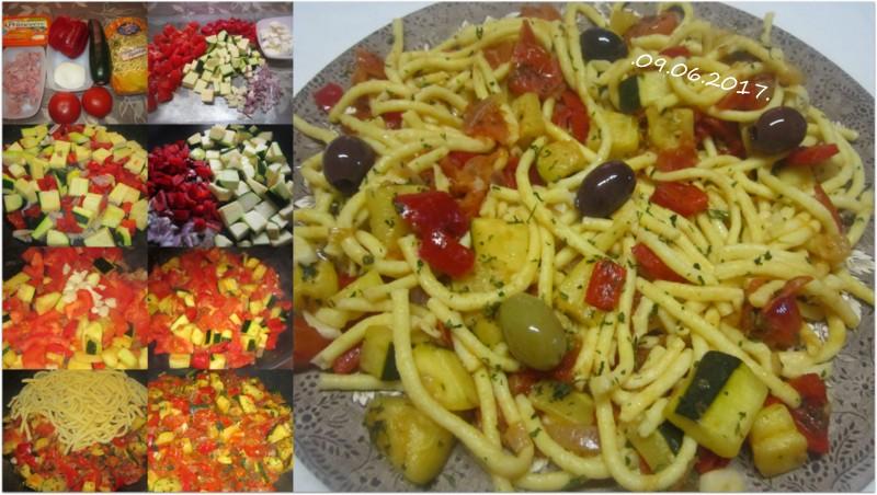 Spaetzle aux légumes.jambon. Assiet10