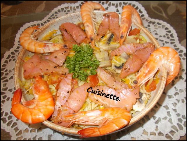 Spaghettis aux légumes.saumon fumé.poivrer. Dscn0110